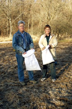 Dee Dokken and Fred Young - seeds for Greenbelt Land Trust's Hinkson Creek area meadow