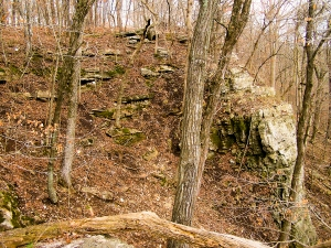 Cliffs over the Hinkson Creek, Columbia, Missouri, mark one boundary of the Greenbelt Land Trust easement.