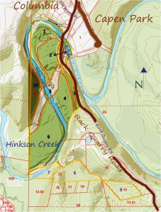 Greenbelt Land Trust's Hinkson Creek Nature Preserve - topo map and boundaries